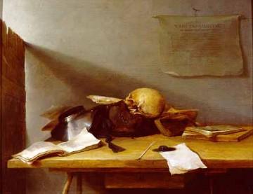 Jan Davidsz de Heem, Nature morte avec livres et crâne (Vanité), 1629