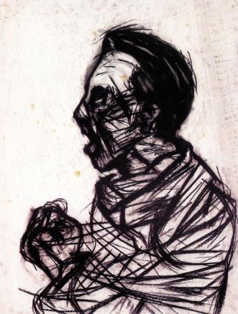 Stéphane Mandelbaum, Joseph Goebbels, fusain sur papier, 1978