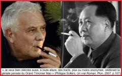 Sollers célèbre la géniale pensée de Mao Zedong dans Un vrai Roman, éd. Plon 2007, p. 107.jpg