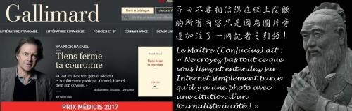 Site Internet de Gallimard faisant la promotion de Haenel avec une citation de Mohammed Aïssaoui (du Figaro) lui-même publié par Gallimard....jpg