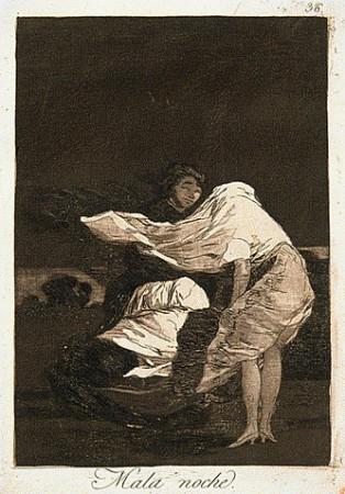 Francisco de Goya, Mala noche, gravure extraite des Caprices, 1799