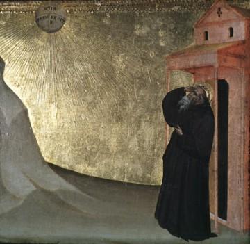 Vision de saint Benoît, Giovanni del Biondo (1356 ?-1392). Peinture à tempera sur bois. Collection Musée des beaux-arts de l'Ontario. Don de A. L. Koppel, 1953. N° d'acq. 52/37.